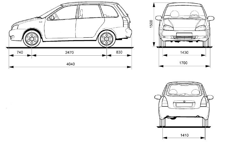 Размеры ВАЗ 1117 Калина