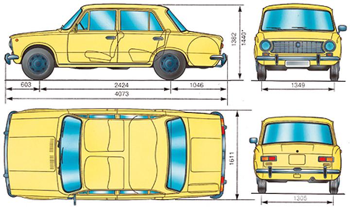 Размеры ВАЗ 2101 Копейка