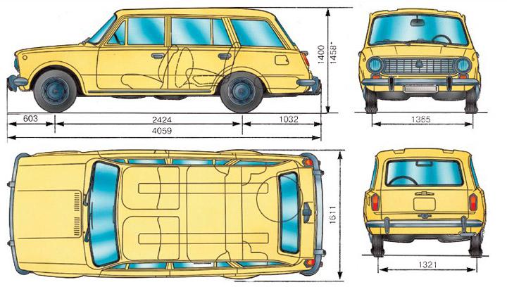 Размеры ВАЗ 2102 Двойка