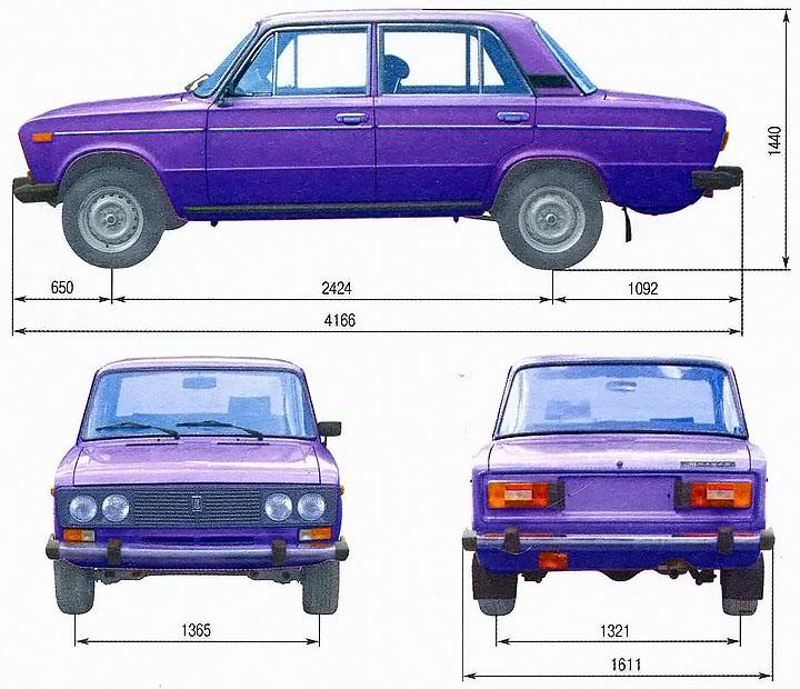 Размеры ВАЗ 2106 шестерка
