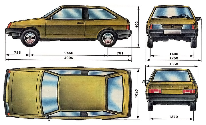 Размеры ВАЗ 2108 восьмерка