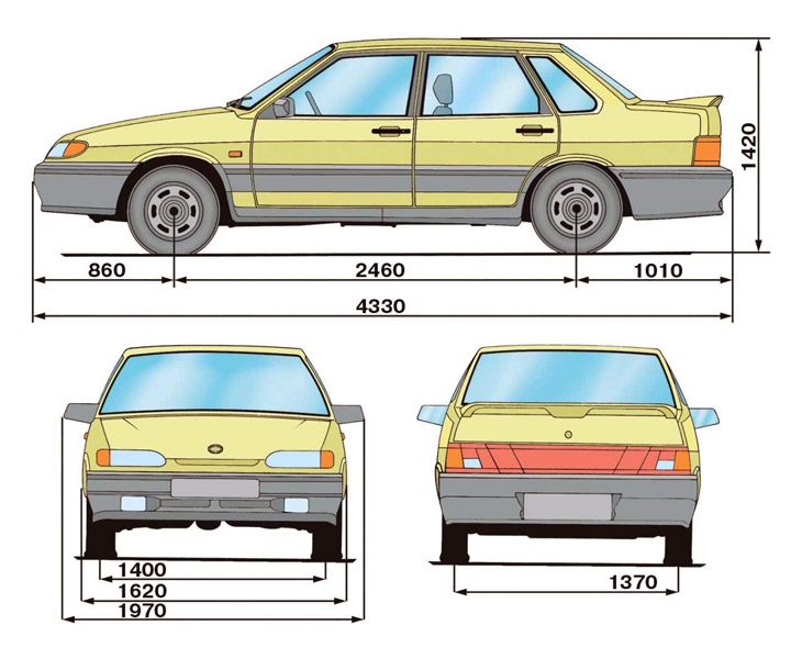 Размеры ВАЗ 2115