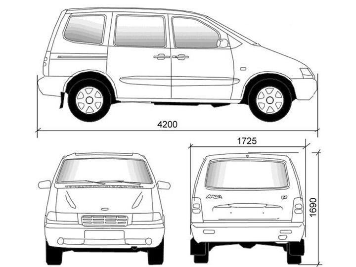 Размеры ВАЗ 2120 Надежда