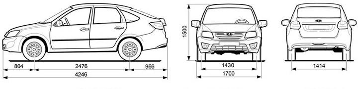 Размеры ВАЗ 2191 Лада Гранта лифтбек